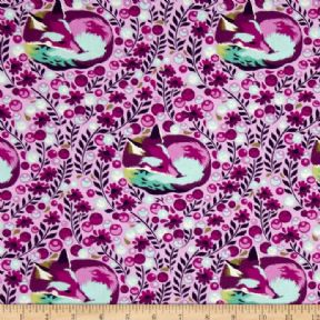 Tula Pink- Chipper Fox Nap - Raspberry - per quarter metre